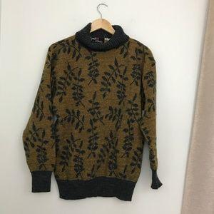 Vintage Turtleneck Leaf Pattern Sweater